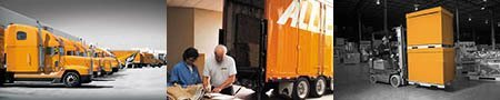 Allied Van Lines Commercial Logistics Services moving truck at storage warehouse to store and deliver client goods