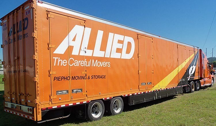 Allied Van Lines truck ready for a corporate relocation move to take a business long distance and moving employees to a new location.