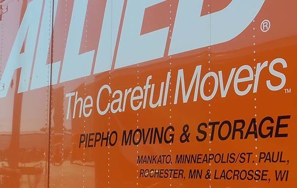 Piepho Moving and Storage, Allied Van Lines Agent truck showing locations in Mankato, Minneapolis St. Paul, Rochester, MN and La Crosse, WI