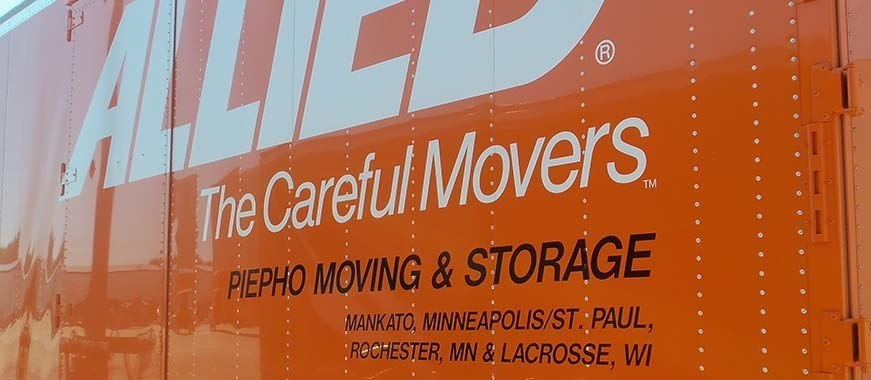 Allied Van Lines truck showing Piepho Moving & Storage locations in Mankato, Minneapolis St. Paul, Rochester, MN and La Crosse, WI