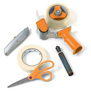 Packing tape, box knives shown, and other moving supplies are available at Piepho Moving & Storage in La Crosse, WI