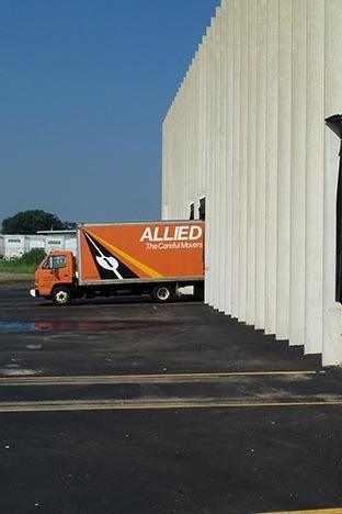 Piepho Moving & Storage truck with Allied Van Lines logo at La Crosse storage facility loading dock