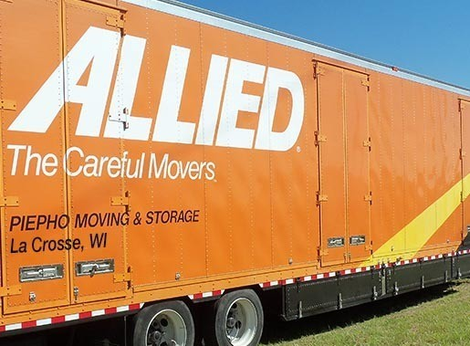 Moving truck with the Allied Van Lines logo and Piepho Moving and Storage, La  Crosse, WI lettering on the side of the movers truck
