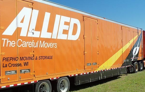 Piepho Moving & Storage truck in La  Crosse, WI with Allied Van Lines logo on the trailer