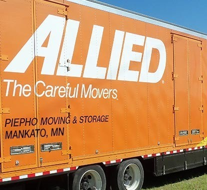 Allied Van Lines truck with logo and Piepho Moving & Storage, Mankato MN shown on the side of the moving truck trailer