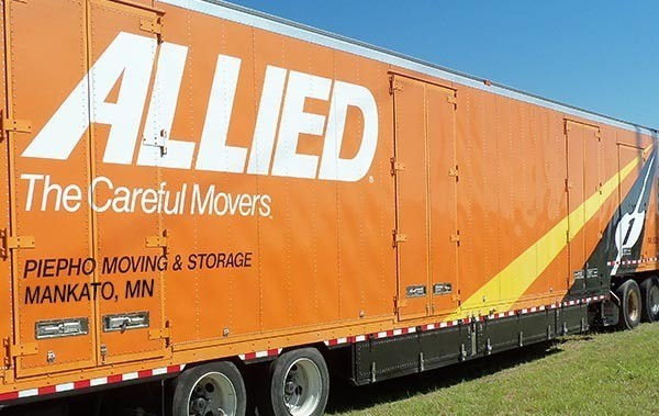Allied Van Lines agent, Piepho Moving & Storage, truck trailer with Mankato, MN on the side