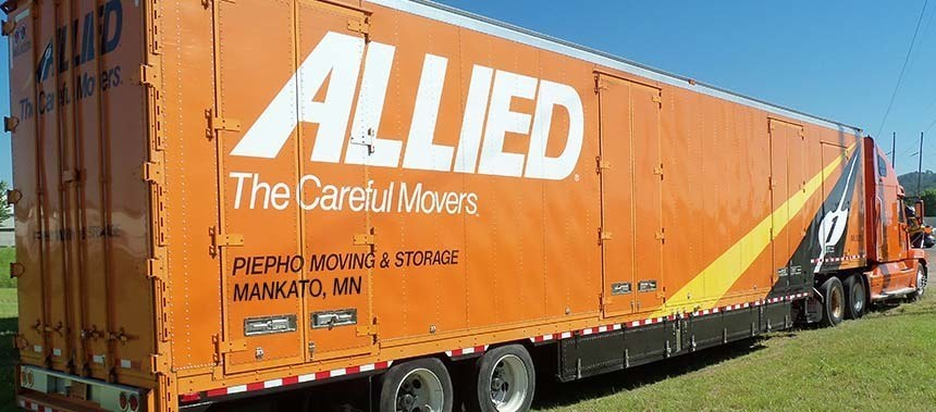 Piepho Moving & Storage, Mankato MN moving truck with Allied Van Lines, The Careful Movers logo on the side