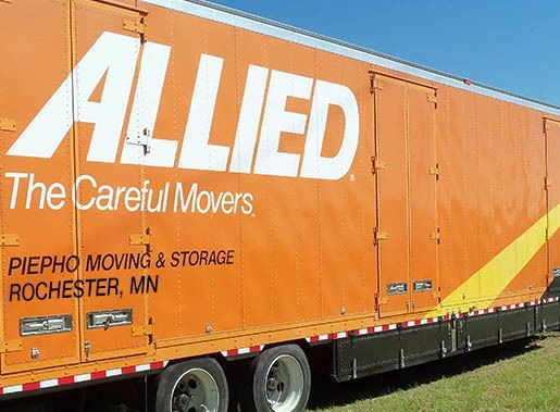 Piepho Moving & Storage, Allied Van Lines agent, truck in front of Rochester Transfer and storage in MN