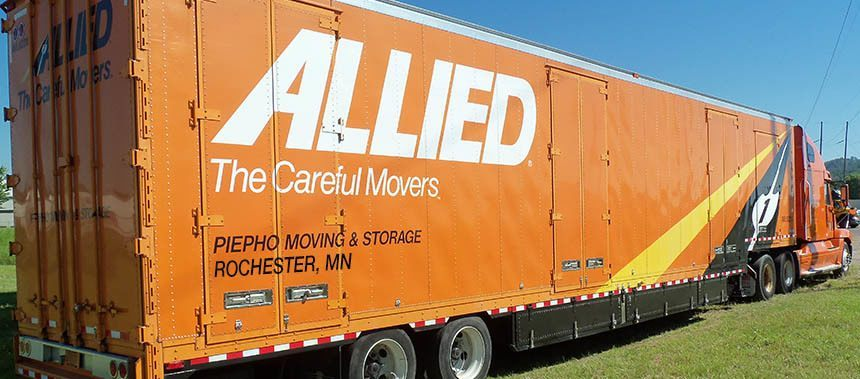 Allied Van Lines agent, Piepho Moving & Storage, with their Rochester MN Truck in front of Rochester Transfer and Storage